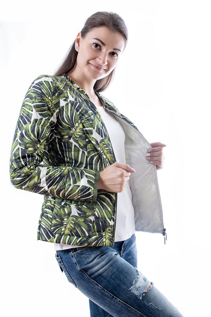 Sieviešu jaka ar palmu lapu printu