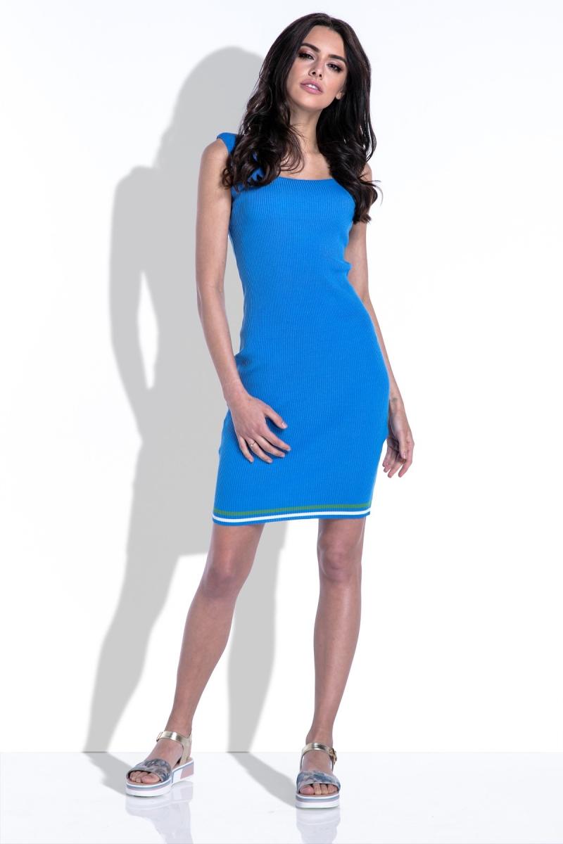 Zila trikotāža kleita