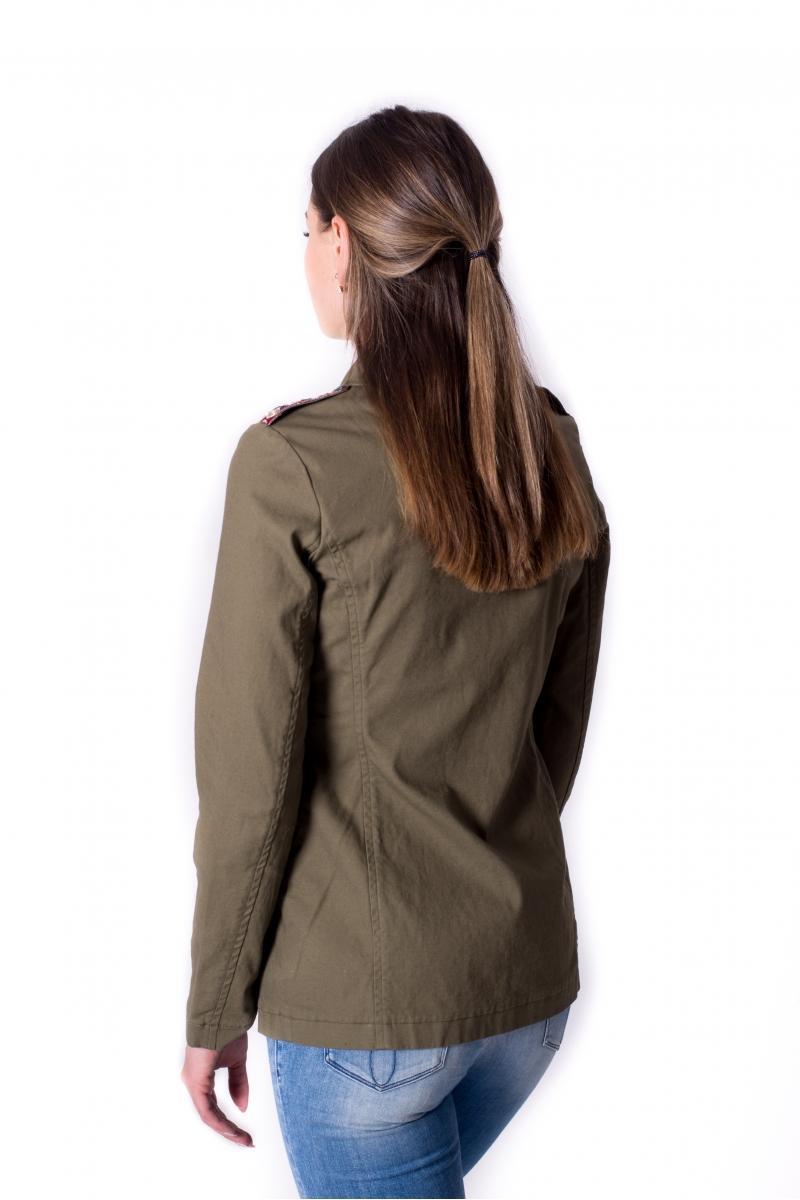 Viegla sieviešu jaka hakī krāsā