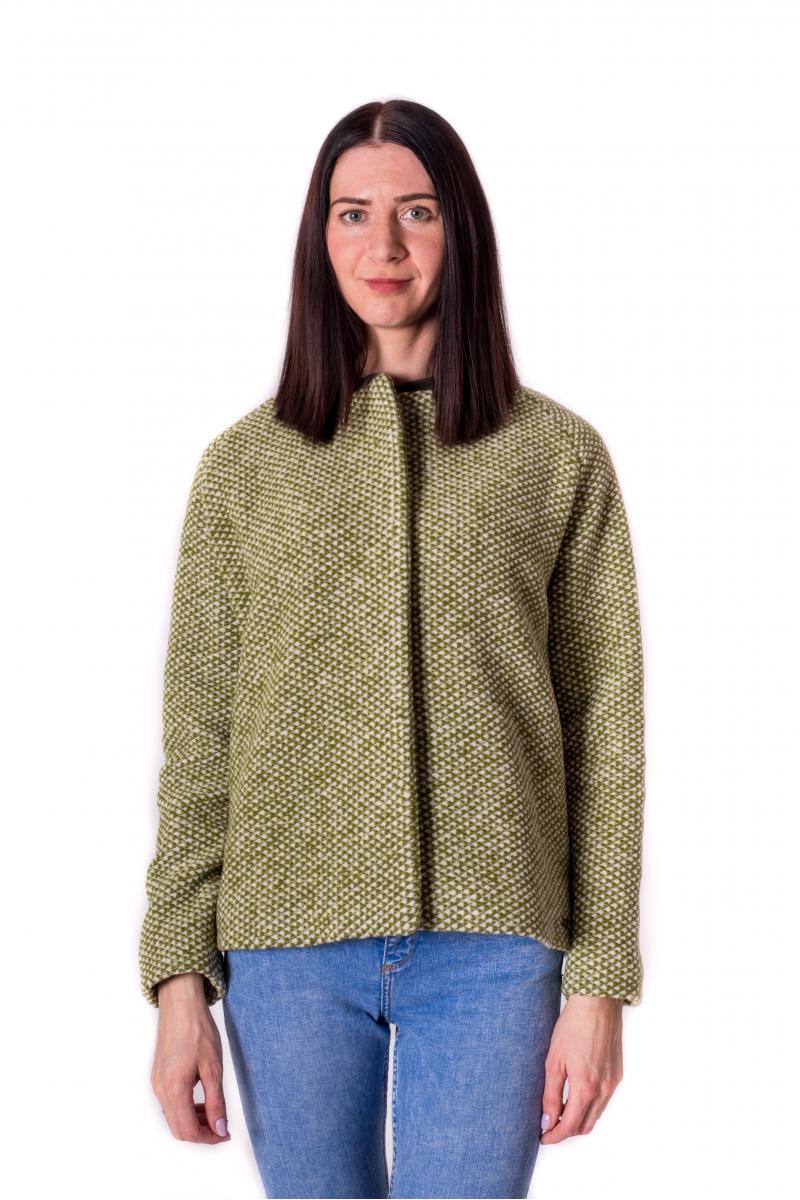 Zaļa tvīda bomber stila jaka