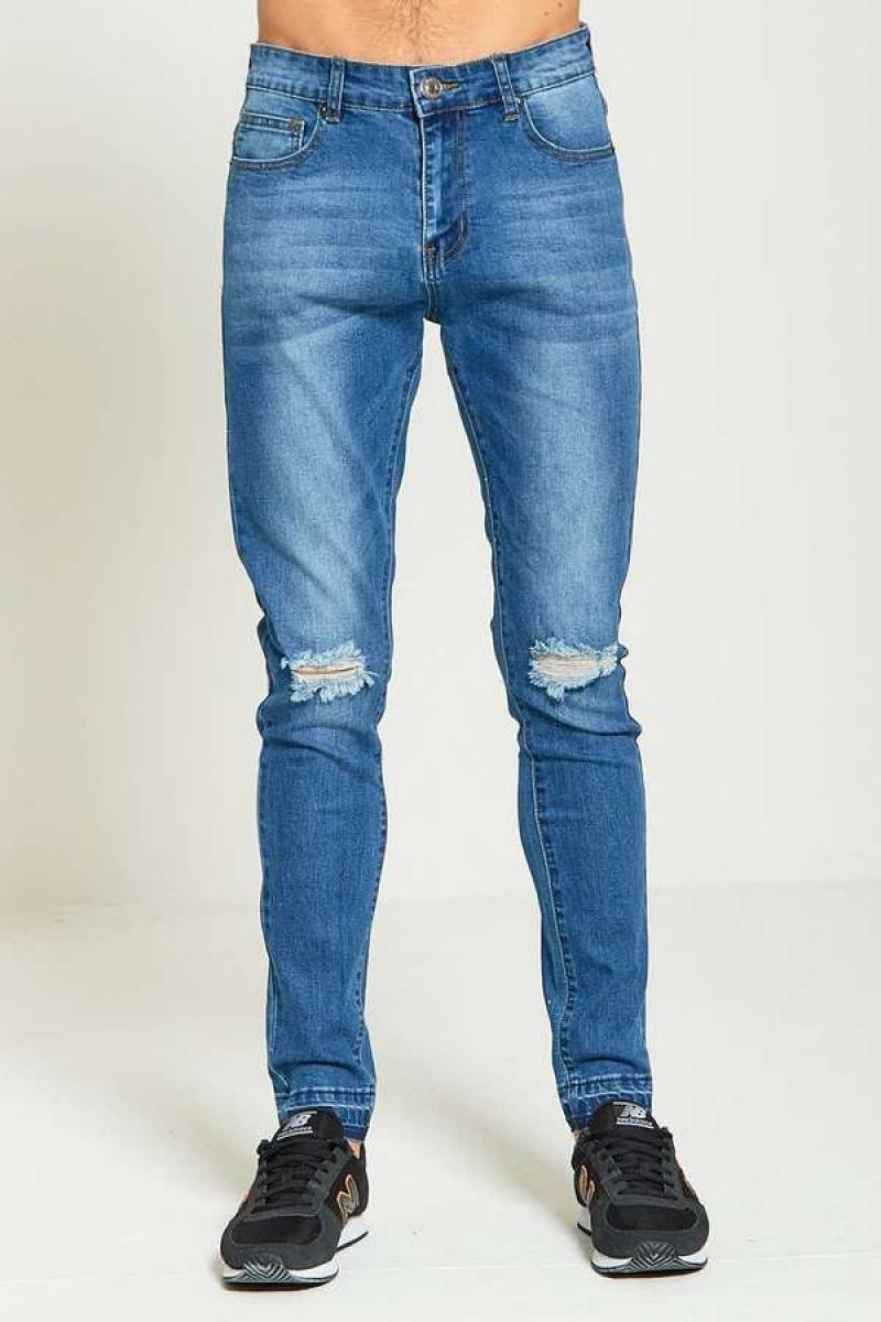 Vīriešu džinsi ar plēstu apdari